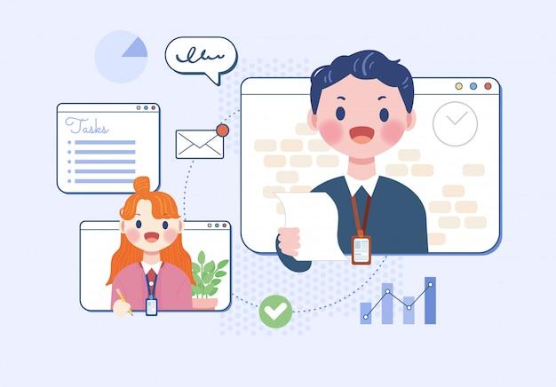 Online communicatie praten zakenman netwerkbijeenkomst thuis