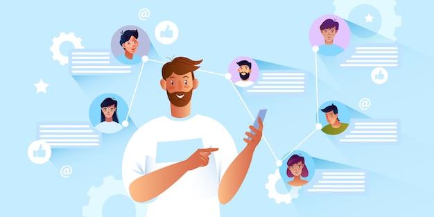 Online communicatieconcept met jonge bebaarde mannelijke karakter met behulp van smartphone.