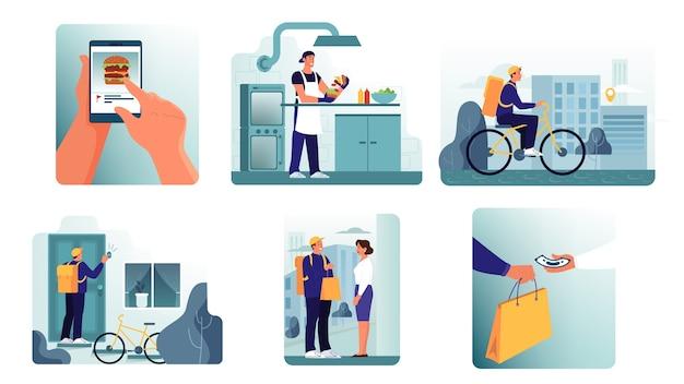 Online concept voor het bezorgen van eten. eten bestellen op internet. kies eten, voeg toe aan winkelwagen, betaal met kaart en wacht op koerier. illustratie