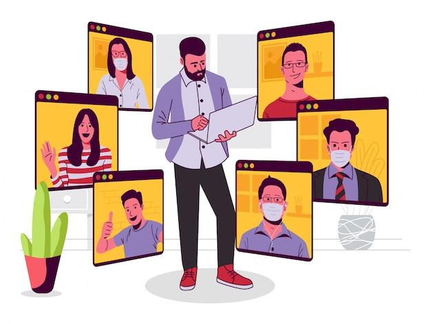 Online conference meeting illustratie