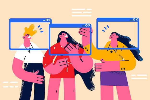 Online conferentie- en videochatconcept