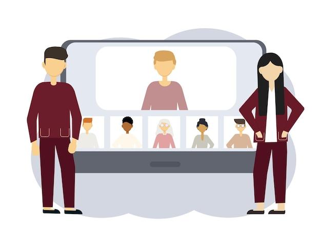 Online conferentie illustratie. een man en vrouw naast een computer met portretten van mannen en vrouwen