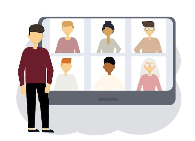 Online conferentie illustratie. een man naast een computer met portretten van mannen en vrouwen