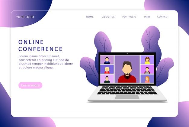 Online conferentie. videoconferentie. bestemmingspagina. moderne webpagina's voor websites.