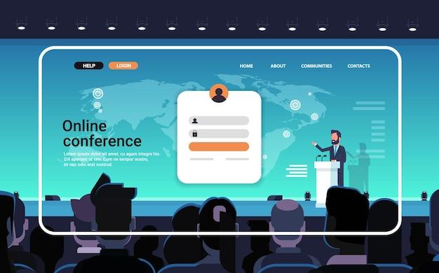Online conferentie website bestemmingspagina sjabloon zakenman die toespraak houdt vanaf tribune tijdens virtuele vergadering