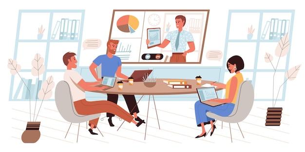 Online conferentieconcept in plat ontwerp. werknemers op zakelijke bijeenkomst, werk bespreken, luisteren naar collega-rapport op groot scherm, communiceren via video-oproepmensenscène. vector illustratie