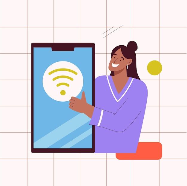 Online connect concept vrouw maakt verbinding met wifi-hotspot