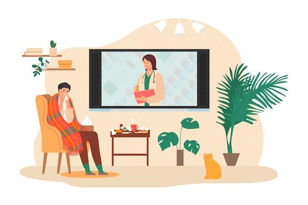 Online consult met arts illustratie. de zieke virusmens bij zelfisolatie neemt thuis medische behandeling op afstand.