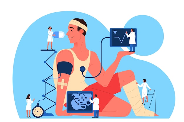 Online consult met arts. online apotheek concept. medische behandeling op afstand op de smartphone of computer. mobiele service. illustratie