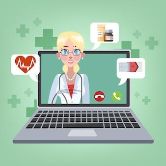 Online consult met vrouwelijke arts illustratie