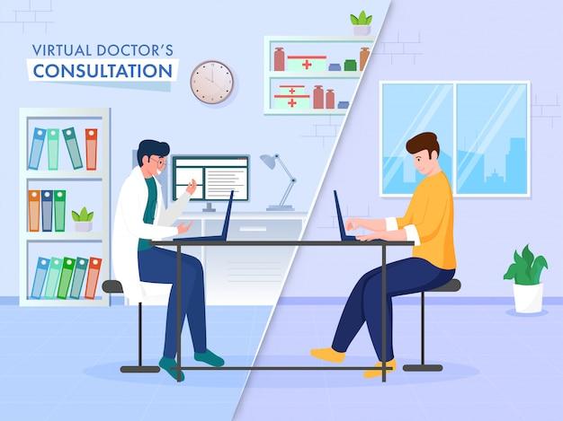 Online consultatieconcept gebaseerde poster met patiënt met videogesprek met virtuele arts vanaf laptop.