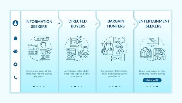 Online consumentengedrag onboarding vector sjabloon. responsieve mobiele website met pictogrammen. webpagina walkthrough 4 stap schermen. gerichte kopers, koopjesjagers kleurconcept met lineaire illustraties