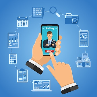 Online controle, belasting, boekhoudconcept