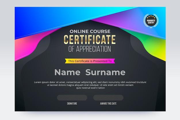 Online cursus certificaat van voltooiing sjabloon. vector illustratie eps10.