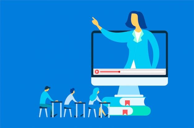 Online cursus onderwijs illustratie