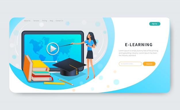 Online cursussen, afstandsonderwijs of webinar. leraar of tutor leert groep studenten