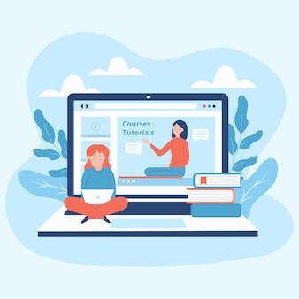 Online cursussen geïllustreerd ontwerp