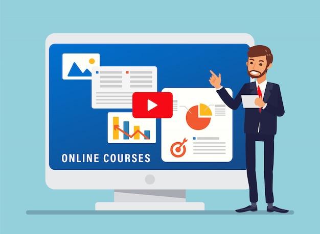 Online cursussen illustratie. zakenman permanent naast grote computerscherm.