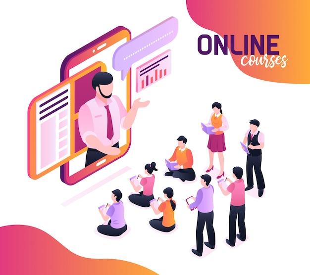 Online cursussen isometrisch met sprekend sprekerbeeld in smartphonescherm en groep jonge leerlingen die in notitieboekjes schrijven