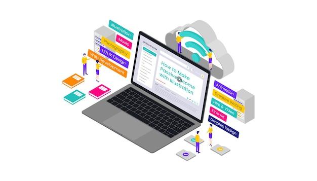 Online cursussen isometrische 3d-vectorillustratie, geschikt voor webbanners, diagrammen, infographics, boekillustratie, spelactiva en andere grafische activa
