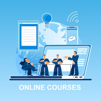 Online cursussen kleine mensen op laptop