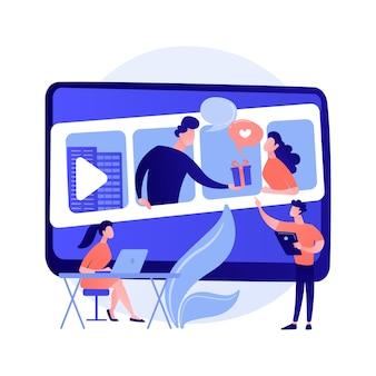 Online cursussen. kleurrijke stripfiguren kijken naar video-tutorial, bedrijfsseminarie. e-learning, webinar, online leren. studeren op afstand.