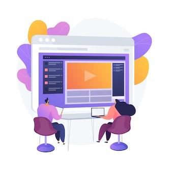 Online cursussen. kleurrijke stripfiguren kijken naar video-tutorial, bedrijfsseminarie. e-leren, webinar, online leren. studeren op afstand. vector geïsoleerde concept metafoor illustratie