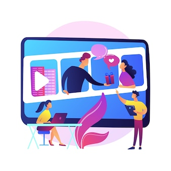 Online cursussen. kleurrijke stripfiguren kijken naar video-tutorial, bedrijfsseminarie. e-leren, webinar, online leren. studeren op afstand.