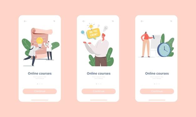 Online cursussen mobiele app-pagina onboard-schermsjabloon