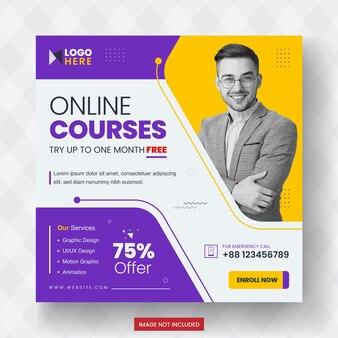 Online cursussen social media-promotie postontwerp premium-sjabloon