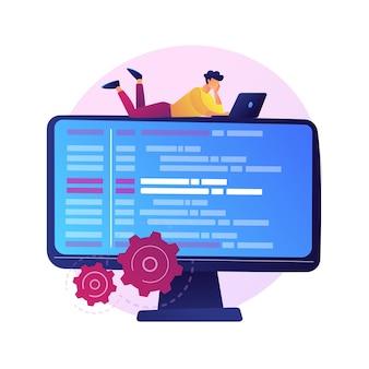 Online database, cloud-schijf. gegevensopslag, informatiebank, computertoepassing. pc-gebruiker, operator stripfiguur. informatie op beeldscherm.