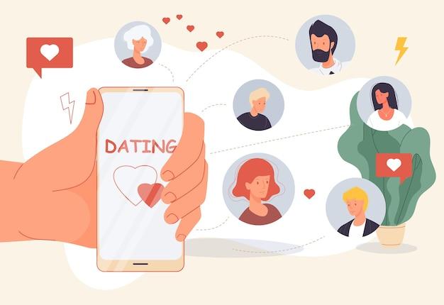 Online daten. mobiele applicatie voor het zoeken naar virtuele relaties tussen liefde en creatie.