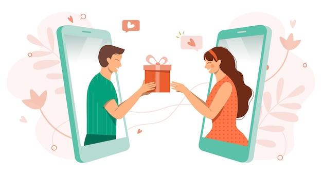 Online daten tijdens coronavirus koppel op sociale afstandvirtuele relatiesman en vrouw verliefd