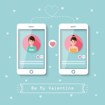 Online daten via sociaal netwerk.