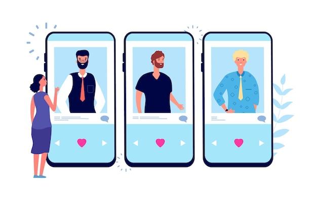 Online dating. alleenstaand meisje op zoek naar een paar op de dating-app voor de telefoon.
