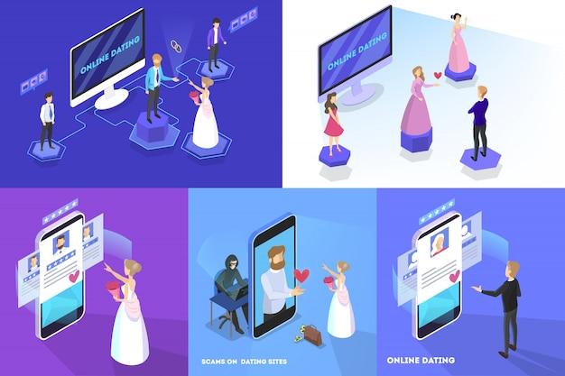 Online dating app-concept. virtuele relatie en liefde. communicatie tussen mensen via het netwerk op de smartphone. perfecte match. illustratie