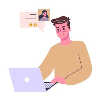 Online dating app-concept. virtuele relatie en liefde. communicatie tussen mensen via netwerk. perfecte match. illustratie