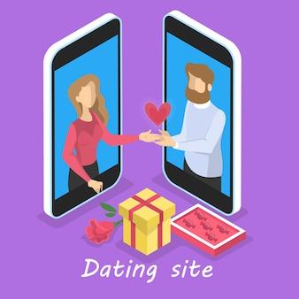 Online dating app-concept. virtuele relatie en liefde. koppel communicatie via netwerk op de smartphone. perfecte match. illustratie