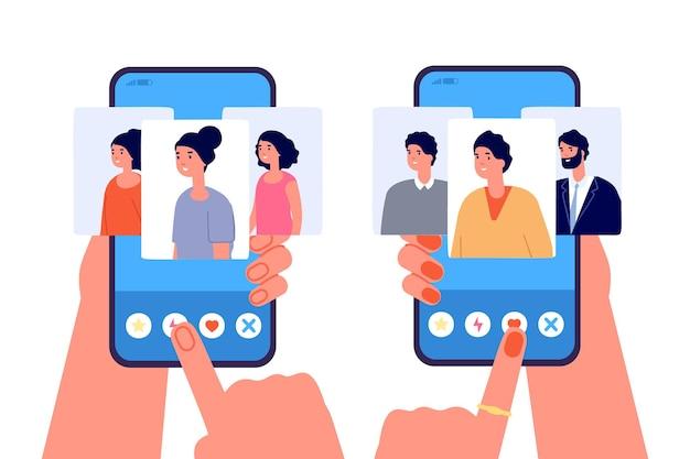 Online dating-app. liefdessites, sociale applicatie voor telefoonrelaties. mobiele romantiekchat, mensen kiezen een persoon om het vectorconcept te ontmoeten. dating-app, toepassingsrelatie-illustratie