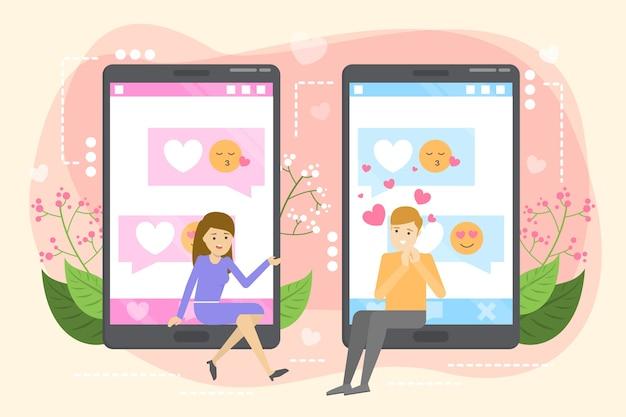 Online dating-app. virtuele relatie en liefde.