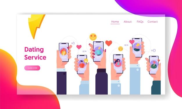 Online dating application concept-bestemmingspagina. mensen op internet schrijven elkaar berichten. hand met smartphone-website of webpagina. virtuele relatie platte cartoon vectorillustratie