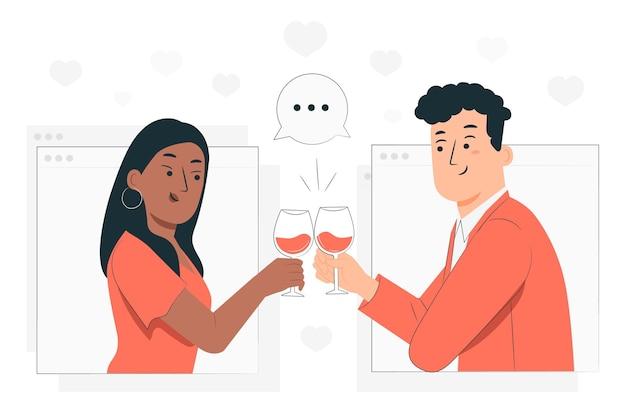 Online dating concept illustratie