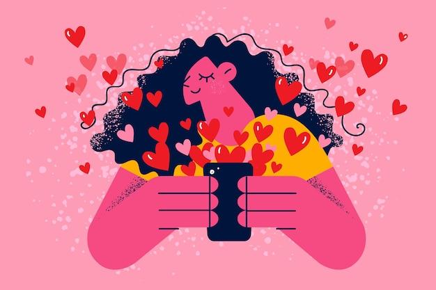 Online dating en applicatie voor liefdesconcept