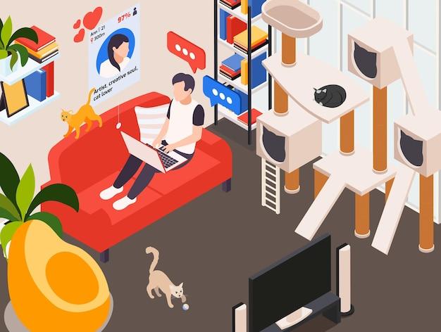 Online dating isometrische illustratie met man naar huis op bankberichten