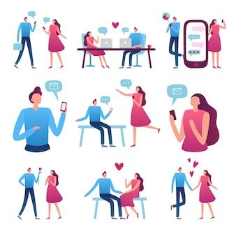 Online dating paar. man en vrouw romantische ontmoeting, perfecte match internet dating chat en blind date service