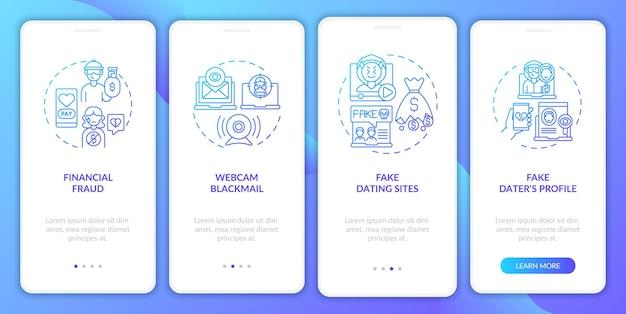 Online dating risico's website onboarding mobiele app pagina scherm met concepten. fake dating app walkthrough 4 stappen grafische instructies.