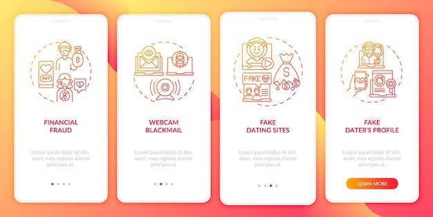 Online dating risico's website onboarding mobiele app pagina scherm
