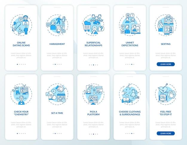Online dating scams onboarding mobiele app pagina scherm met concepten