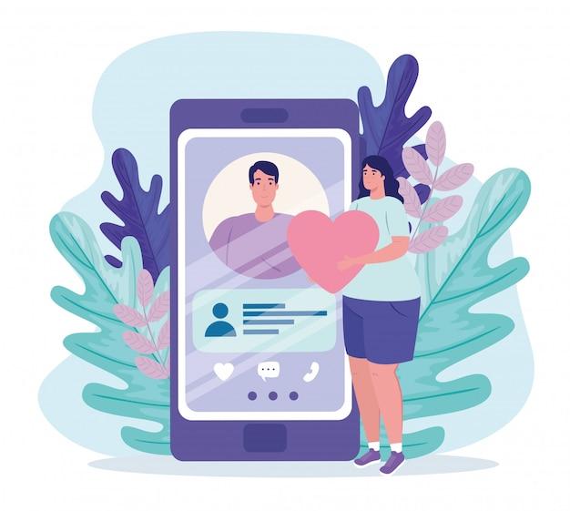 Online dating service applicatie, smartphone met man profiel, mujer met hart, moderne mensen op zoek naar paar, sociale media, virtuele relatie communicatieconcept