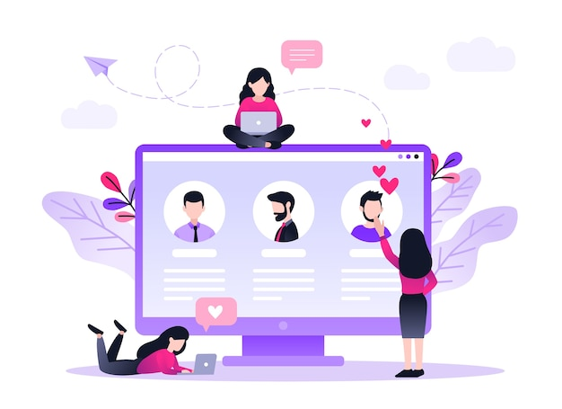 Online dating virtuele relaties dating applicaties concept vind liefde